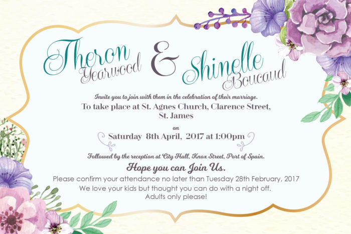 Wedding Invitation - Theron Yearwood & Shinelle Boucaud