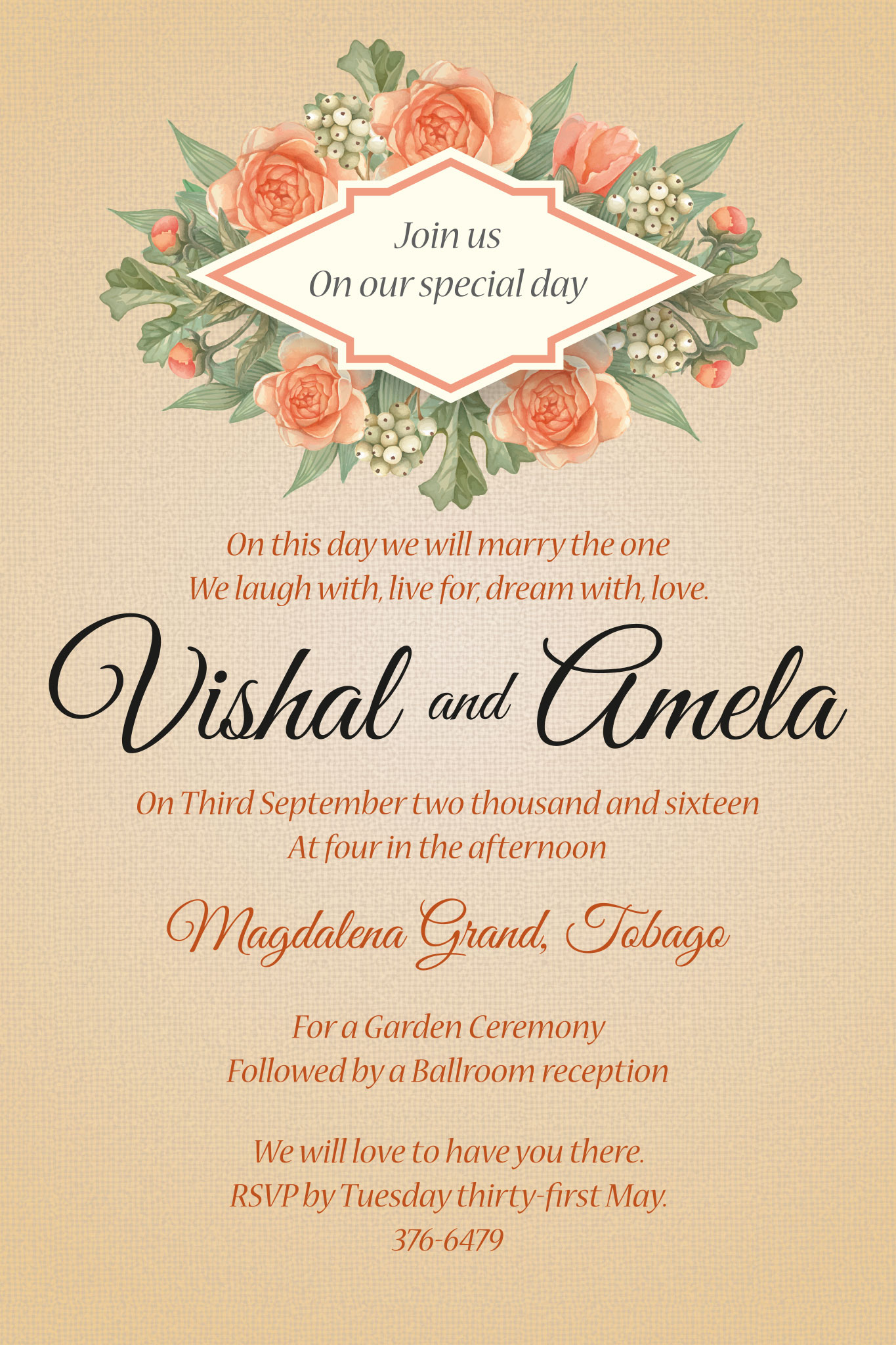 Wedding Invitation-Vishal and Amela